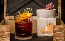 Negroni With Orange. Delicious Alcohol Negroni Cocktail