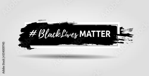Foto Black lives matter slogan hashtag isolated in frame with ink background