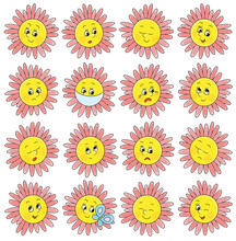 Set Of Funny Yellow And Pink F...