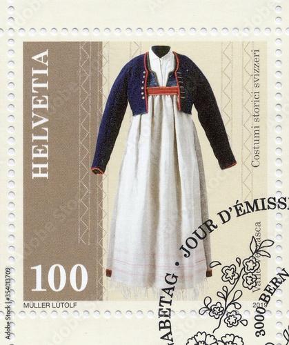 Fotografie, Obraz Historical women's costume from Valle Verzasca, stamp Switzerland 2019