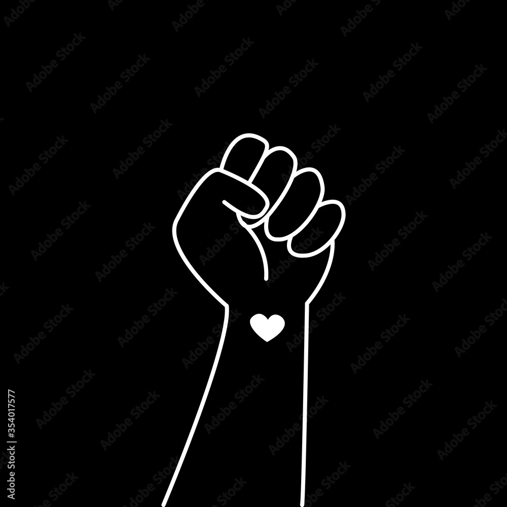 Fototapeta Hand symbol for black lives matter protest in USA to stop violence to black people. Fight for human right of Black People in U.S. America. Flat style vector