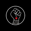 Hand symbol with heart and text black lives matter protest in USA to stop violence to black people. Fight for human right of Black People in U.S. America. Flat style vector