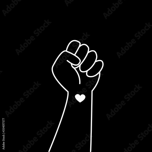 Hand symbol for black lives matter protest in USA to stop violence to black people Фотошпалери