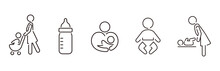 Stroller Icon Baby Push Vector