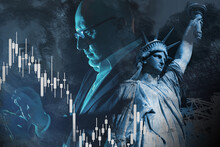 American Investor. United States Financier.  Graph Shows A Stock