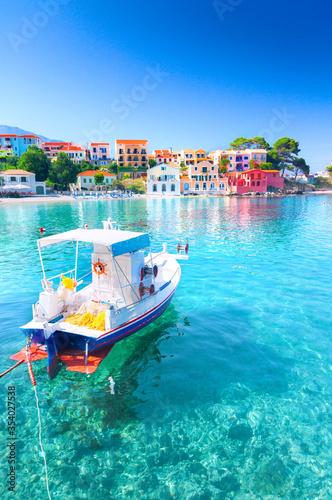 Obraz Assos village in Kefalonia, Greece - fototapety do salonu