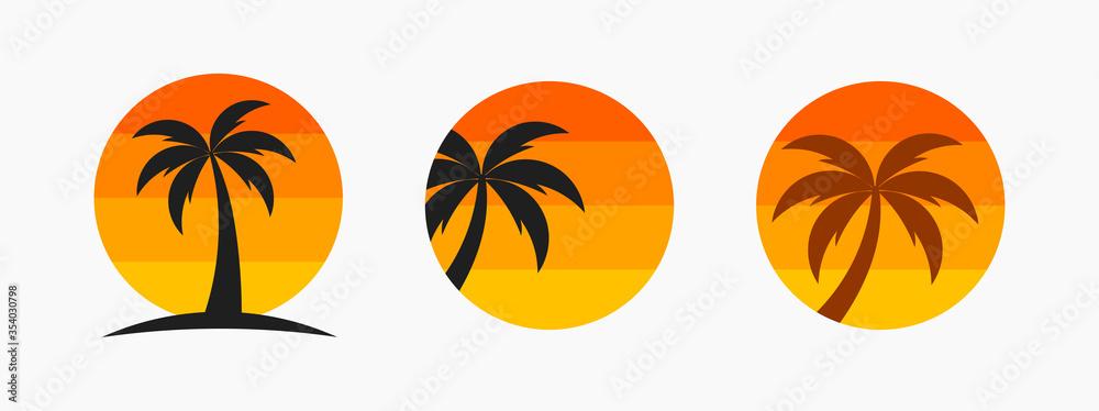 Fototapeta Palm tree and sunset sun symbols.