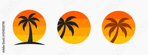 Fototapeta Palm tree and sunset sun symbols. obraz
