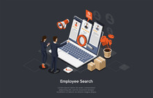 Concept Of Recruitment Agency. HR Managers Are Reading CV, Choosing Best Candidates For Hire Job Use Laptop. Employers Searching For Professional Talented Employees. Isometric 3d Vector Illustration