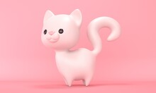 White Cute Cat Toy On A Pink Background. 3d Rendering