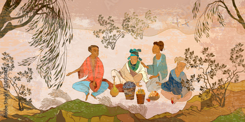 Ancient China. Oriental people. Tea ceremony. Traditional Chinese paintings. Classic wall drawing. Murals and watercolor asian style. Hand-drawn vector illustration. Tradition and culture of Asia