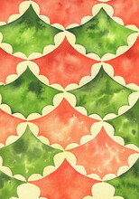 Hand Drawn Watercolor Orange And Green Fish Scale Pattern. Ocean Wave Japanese Texture.