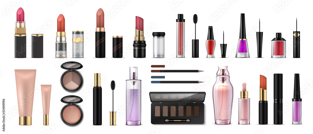 Fototapeta Makeup set. Realistic cosmetic products, glossy lipsticks, pencils, shadows, highlighters and artist tools. Vector 3D professional cosmetics object set, beauty collection face fashion