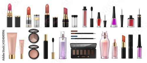 Fototapeta Makeup set. Realistic cosmetic products, glossy lipsticks, pencils, shadows, highlighters and artist tools. Vector 3D professional cosmetics object set, beauty collection face fashion obraz