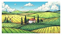 Countryside Landscape. Organic...