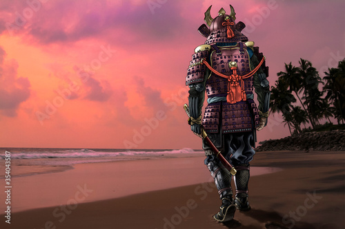 Fotografía Highly detailed raster llustration of Japanese samurai wearing a traditional medieval armor against the sunset sky