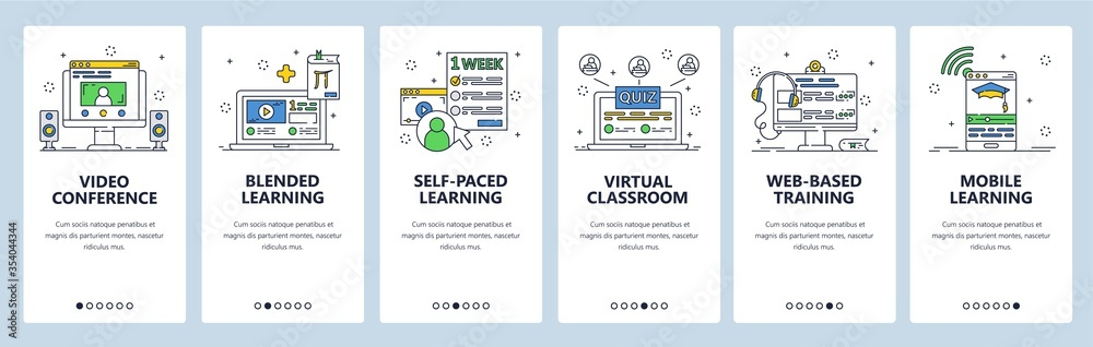 Fototapeta Online education, video conference and distant learning. Online virtual class. Mobile app screens. Vector banner template for website and mobile development. Web site design illustration