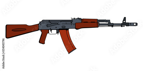 Photo Russian assault rifle AK-47. Vector illustration