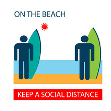 People On The Beach Are At A Social Distance. Two Men With Surfers Stand On A Sandy Beach. Icon. Poster Of Viral Infection Prevention. Vector Illustration