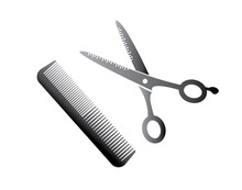 Flat Icon Scissors And Combs I...