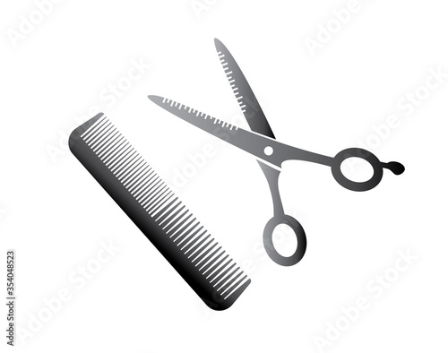 Foto Flat icon scissors and combs isolated on white background