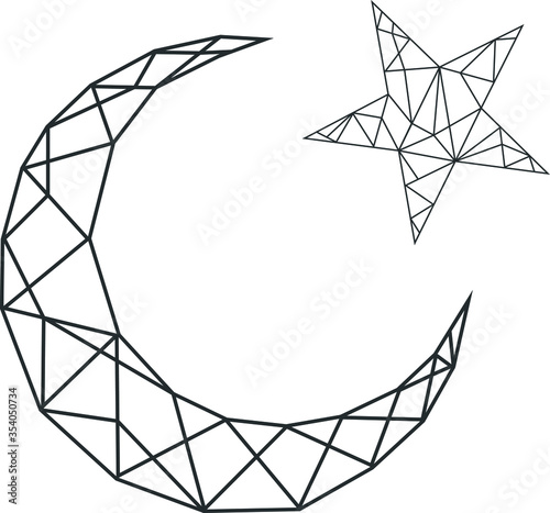 Vector abstract polygonal geometric star and moon
