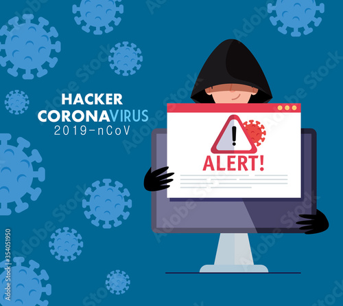 Obraz hacker and laptop with danger warning sign during covid 19 pandemic vector illustration design - fototapety do salonu
