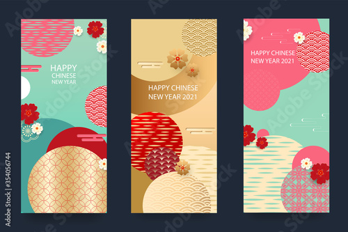 happy new year 2021 chinese new year set of greeting cards envelopes with geometric patterns flowers and lanterns vector buy this stock vector and explore similar vectors at adobe stock adobe stock lanterns vector