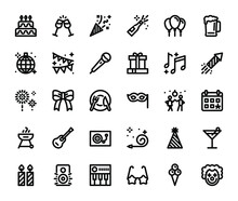 Party Basic Outline Icons Set