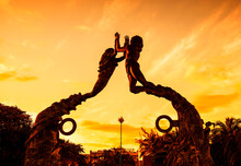 Entrance Of The Beach In Playa Del Carmen At Sunset, Mexico