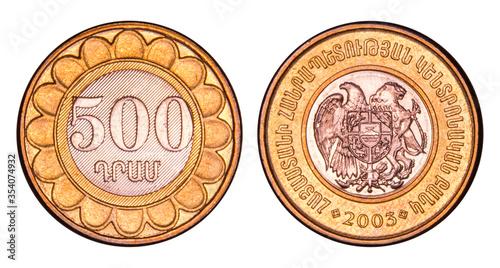Fotografia 500 Armenian Dram Coin, 2003, Armenia, National Currency