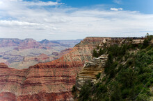 A View Of Mather Point With Yaki Point In The Background, Grand Canyon National Park, Arizona
