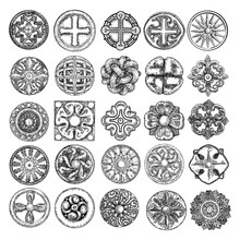 Large Set Of Baroque Ancient Vintage Style Flowers Design Elements And Other Religious Or Mystic Drawings. Geometric Shape Star, Crystals, Pentagram And Cross. Religious Circle Symbol. Vector.