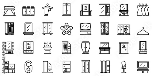 Vászonkép Dressing room icons set