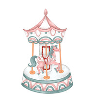 Vintage Carousel With Horses. ...