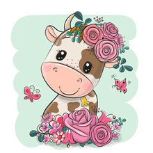 Cartoon Cow With Flowers On A Green Background