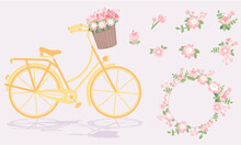 Adorable Yellow Bike With A Ba...