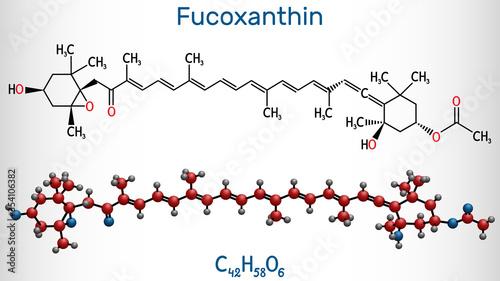 Fucoxanthin, C42H58O6, xanthophyll molecule Canvas Print