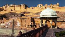Gazebo On The Background Of The Amber Fort, Jaipur, India