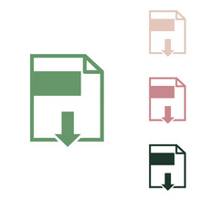 File Download Sign. Russian Green Icon With Small Jungle Green, Puce And Desert Sand Ones On White Background. Illustration.