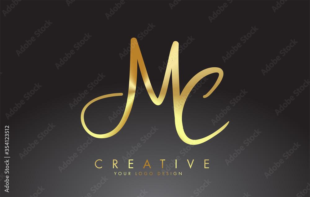 Fototapeta Handwritten MC M C Letters Logo. MC M C Sign with Golden Wire Effect.