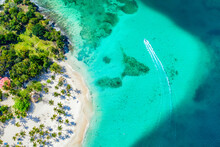 Aerial Drone View Of Beautiful Caribbean Tropical Island Cayo Levantado Beach With Palms And Boat. Bacardi Island, Dominican Republic. Vacation Background.
