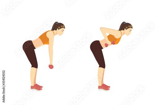 Cuadros en Lienzo Sport Women doing Fitness with Dumbbell by Deadlift Back Row pose in 2 steps
