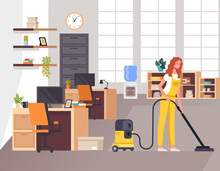 Woman Cleaning Worker Clean Vacuuming Office. Vector Flat Graphic Design Illustration