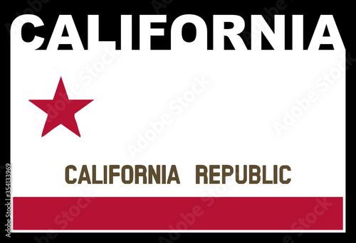 Obraz na plátně California State Text Flag