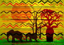 African Print Fabric, Ethnic Handmade Ornament For Your Design. Africa Safari Concept, Vintage Tribal Motif Elements, Animal Elephant And Baobab Tree Orange Sunset. Afro Textile Pareo Wrap Dress Batik