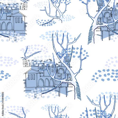 Tapety Klasyczne  wzor-pejzaz-miejski-z-zabytkowymi-budynkami-za-wielkim-drzewem-koncepcja-starego-miasta