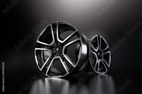 Fotografía car alloy wheel, isolated on black. 3D rendering illustration.
