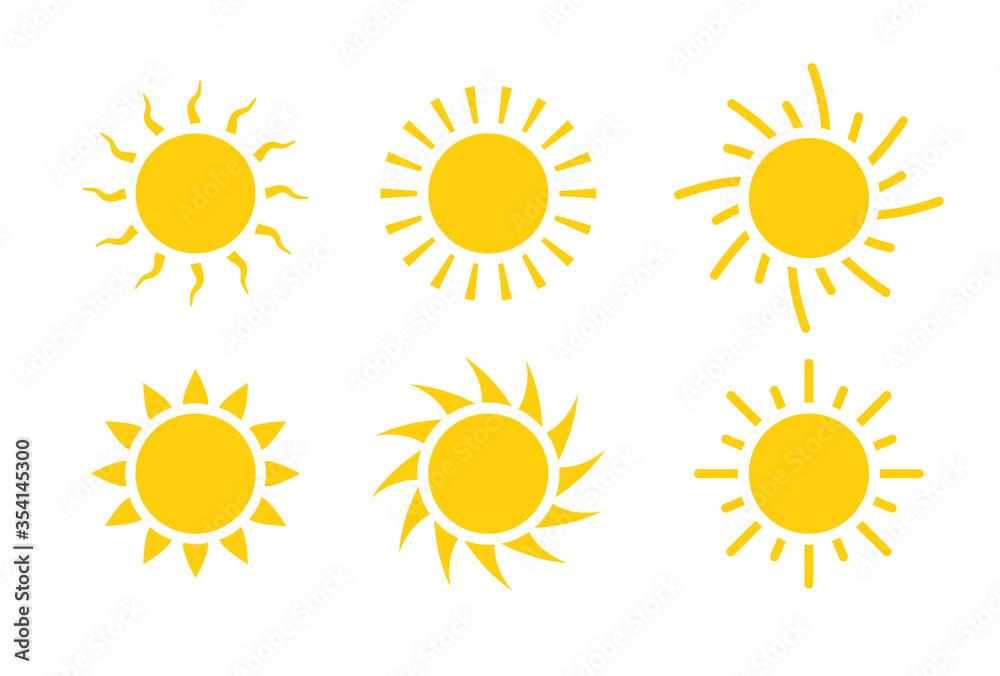 Fototapeta Sun icon symbol illustration, Sunlight design weather. Flat sunshine isolated set of sun logo