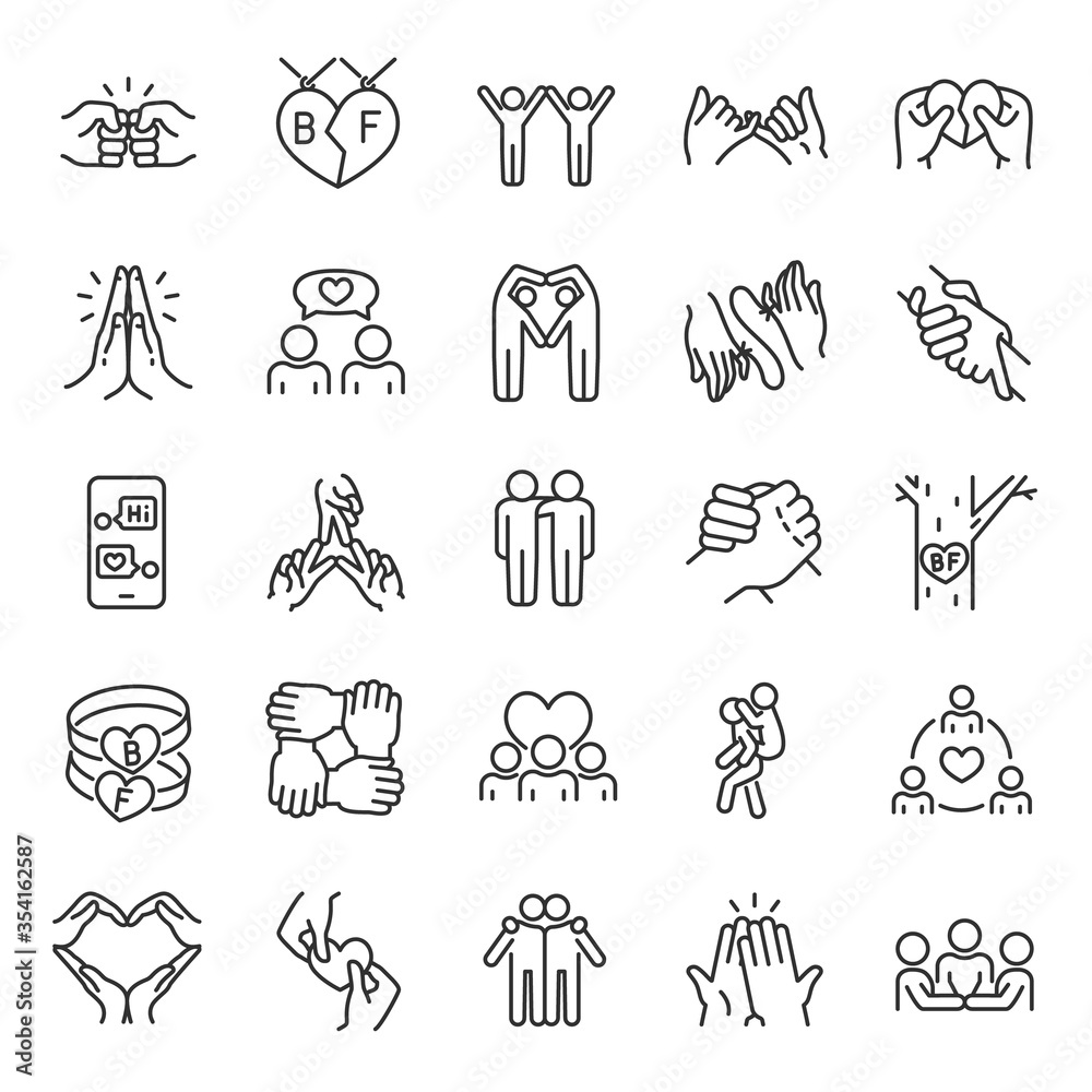 Fototapeta Friendship, icon set. Communication and Interaction, mutual affection, relationship between people, linear icons. Friends chatting and having fun with each other. Line with editable stroke